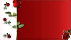 Поздравительная открытка дня валентинок с красными розами Стоковое Изображение RF