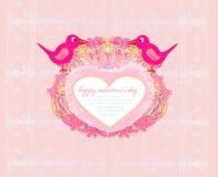 Поздравительная открытка дня валентинок с 2 сладостными птицами Стоковое Изображение