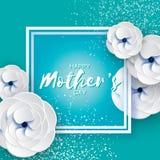 поздравительная открытка дня матерей женщины дня s Срезанный цветок белой бумаги Букет Origami красивый Квадратная рамка текст Стоковое фото RF