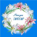 Поздравительная открытка дня матерей с цветками обрамляет лилию Стоковое Фото