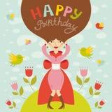 Поздравительная открытка дня рождения с красивой дамой Иллюстрация вектора
