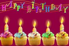 Поздравительная открытка дня рождения с пирожным и свечой Стоковые Изображения