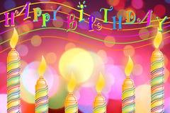 Поздравительная открытка дня рождения с свечой Стоковое Изображение