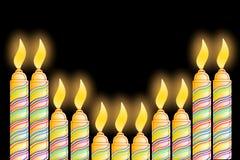 Поздравительная открытка дня рождения с свечой Стоковая Фотография RF