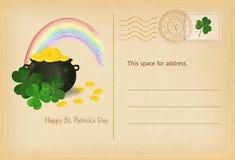 Поздравительная открытка дня St. Patrick ретро с горшком с золотом и радугой также вектор иллюстрации притяжки corel Стоковые Фотографии RF