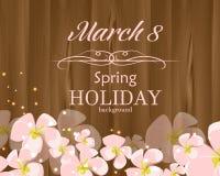 Поздравительная открытка 8-ое марта с розовыми цветками Стоковое Фото