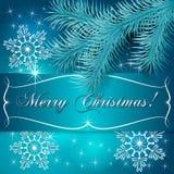 Поздравительная открытка праздника рождества вектора голубая иллюстрация вектора