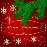 Поздравительная открытка праздника рождества вектора красная иллюстрация штока