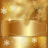 Поздравительная открытка праздника рождества золота вектора иллюстрация вектора