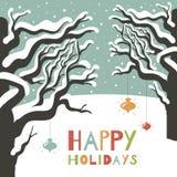 Поздравительная открытка праздников зимы счастливая. Иллюстрация штока