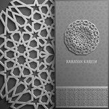 Поздравительная открытка Рамазана Kareem, стиль приглашения исламский Картина арабского круга золотая орнамент на черноте, брошюр Стоковое Изображение RF
