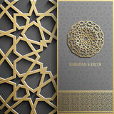 Поздравительная открытка Рамазана Kareem, стиль приглашения исламский Картина арабского круга золотая Орнамент на черноте, брошюр Стоковая Фотография RF