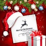 Поздравительная открытка рождества вектора винтажная Стоковое фото RF