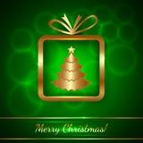 Поздравительная открытка рождества вектора с подарком иллюстрация штока