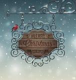 Поздравительная открытка рождества винтажная - деревянный шильдик иллюстрация штока