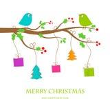 Поздравительная открытка рождества винтажная иллюстрация вектора