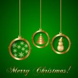 Поздравительная открытка рождества золота вектора декоративная иллюстрация вектора