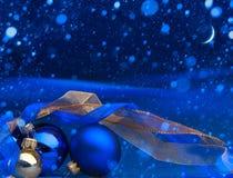 Поздравительная открытка рождества искусства голубая Стоковое фото RF