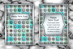 Поздравительная открытка рождества и Нового Года винтажная Предпосылка снежинки мозаики плитки также вектор иллюстрации притяжки  Стоковое Изображение