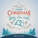Поздравительная открытка рождества и Нового Года с оформлением Стоковые Изображения RF