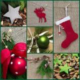 Поздравительная открытка рождества мозаики в красной и зеленой - стиль страны Стоковые Фотографии RF