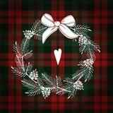 Поздравительная открытка рождества, приглашение Венок белого рождества сделанный ветвей и конусов сосны Шотландка тартана checker иллюстрация вектора