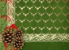 Поздравительная открытка рождества с ветвями спруса, конуса стоковая фотография rf