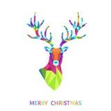 Поздравительная открытка рождества с головой северного оленя треугольника Стоковое Фото