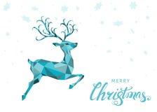 Поздравительная открытка рождества с голубыми северным оленем и снежинками Стоковое Изображение RF