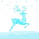 Поздравительная открытка рождества с голубым северным оленем скачки Стоковые Фотографии RF