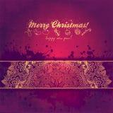 Поздравительная открытка рождества с декоративным деревом от Стоковое Фото