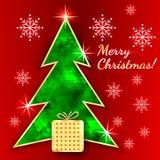 Поздравительная открытка рождества с деревом иллюстрация штока