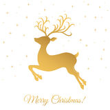 Поздравительная открытка рождества с золотыми оленями на белой предпосылке Стоковая Фотография