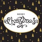 Поздравительная открытка рождества с золотыми спрусами Стоковые Изображения RF