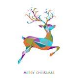Поздравительная открытка рождества с красочными абстрактными оленями Стоковая Фотография RF