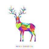 Поздравительная открытка рождества с красочным полигональным северным оленем Стоковая Фотография