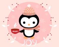 Поздравительная открытка рождества с милым пингвином Иллюстрация вектора