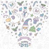 Поздравительная открытка рождества с овцами Иллюстрация вектора