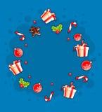 Поздравительная открытка рождества с подарками и помадками облаком бесплатная иллюстрация