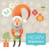 Поздравительная открытка рождества с Санта Клаусом и снежинками Иллюстрация штока
