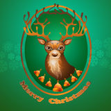 Поздравительная открытка рождества с северным оленем и колоколами иллюстрация вектора