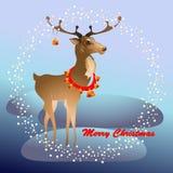 Поздравительная открытка рождества с северным оленем и колоколами иллюстрация штока