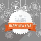 Поздравительная открытка рождества с снежинками на предпосылке Стоковые Изображения RF