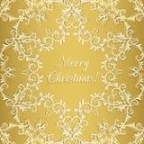 Поздравительная открытка рождества с снежинкой, золотом Стоковые Изображения RF