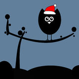 Поздравительная открытка рождества с сычами Стоковое Фото