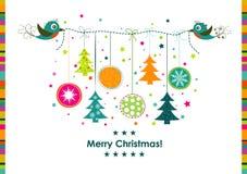 Поздравительная открытка рождества шаблона, лента, вектор Стоковые Изображения