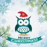 Поздравительная открытка рождества шаблона с сычом иллюстрация вектора