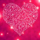 Поздравительная открытка сердца дня валентинки вектора кружевная Стоковое Фото