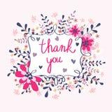 Поздравительная открытка спасибо Стоковые Изображения