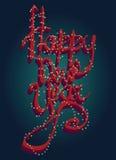 Поздравительная открытка счастливого Нового Года всеобщая с освещением рождества шрифта 3D Стоковые Изображения